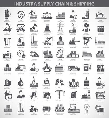 Illustration pour Industry,construction and engineer icon set, black version - image libre de droit