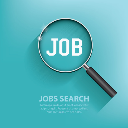 Illustration pour Searching jobs, design on blue background. Clean vector. - image libre de droit