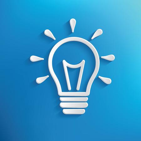 Illustration for Light bulb design on blue background,clean vector - Royalty Free Image