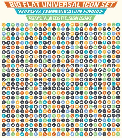 Ilustración de Big flat icons,Business,Finance,industry,Medical, and website icon set,clean vector - Imagen libre de derechos