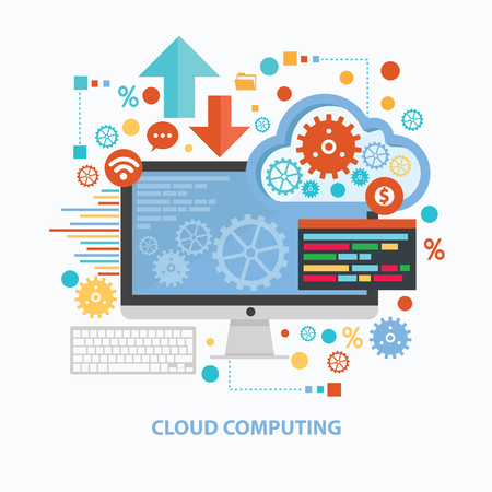 Ilustración de Cloud computing concept design on white background,clean vector - Imagen libre de derechos