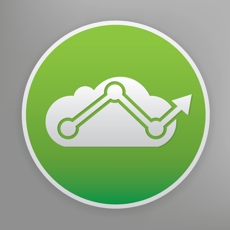 Cloud analysis design icon on green button