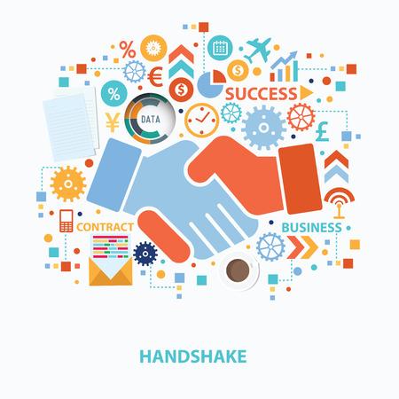 Ilustración de Handshake concept design on white background,clean vector - Imagen libre de derechos