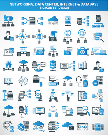 Ilustración de Networking,Data center,Internet,Cloud computing,Database server icons,blue version,clean vector - Imagen libre de derechos