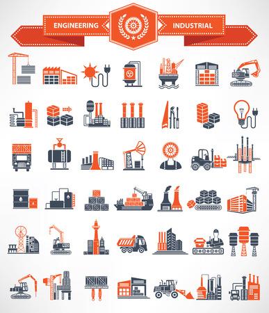 Illustration pour Construction,Engineer and Industry icon set,orange version,clean vector - image libre de droit