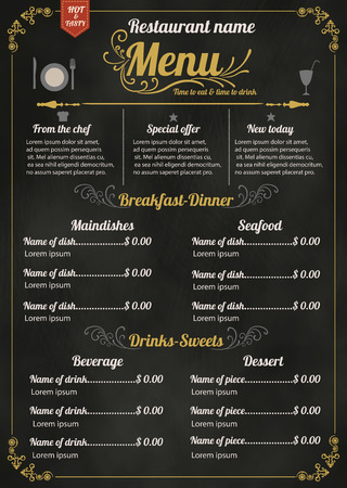 Ilustración de Restaurant Food Menu Design with Chalkboard Background - Imagen libre de derechos