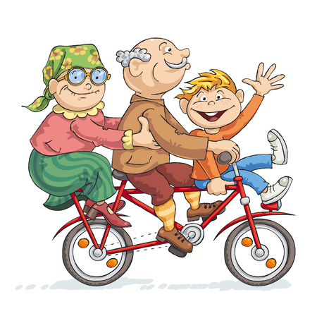 Illustration pour Grandfather, grandmother and their grandson rides on a red bike - image libre de droit