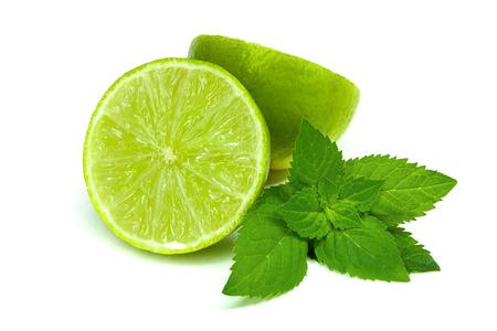 Foto de Lime with mint on white background - Imagen libre de derechos