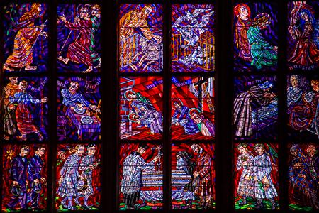 Foto de Beautiful Stained Glass Windows in european cathedral - Imagen libre de derechos
