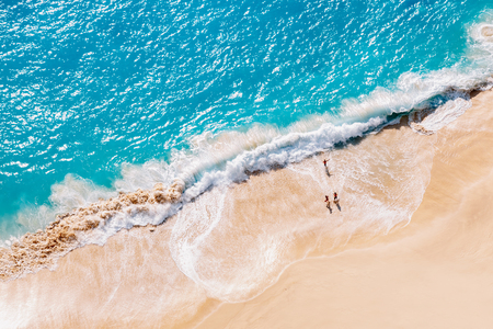 Photo for Aerial view to tropical sandy beach and blue ocean - Royalty Free Image