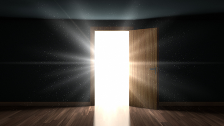 Photo pour Light and particles in a dark room through the opening door - image libre de droit