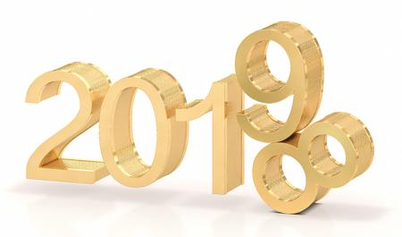 Photo pour 3D Golden 2019. 2018-2019 change represents the new year 2019. - image libre de droit