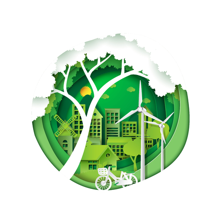 Ilustración de Green eco friendly city and save energy creative idea concept.Paper carving nature landscape and environment conservation paper art style.Vector illustration. - Imagen libre de derechos