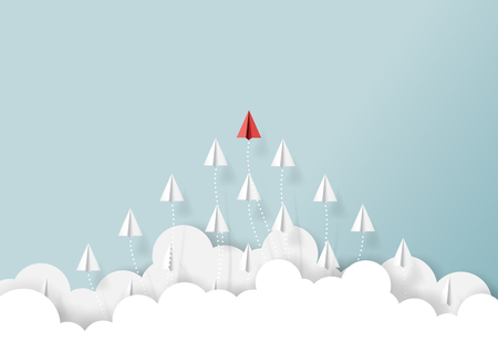 Illustration for Paper airplanes flying from clouds on blue sky.Paper art style of business teamwork creative concept idea. - Royalty Free Image