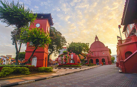 Photo for The oriental red building in Melaka, Malacca, Malaysia. Soft focus and noise slightly appear due to high iso - Royalty Free Image
