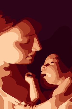 Ilustración de Mother and her baby vector illustration  - Imagen libre de derechos