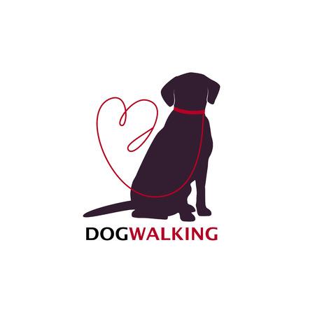 Ilustración de Dog walking logo template with sitting dog silhouette. Vector Illustration - Imagen libre de derechos