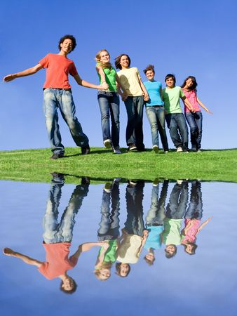 Photo for diversity, happy smiling diverse group of teens - Royalty Free Image