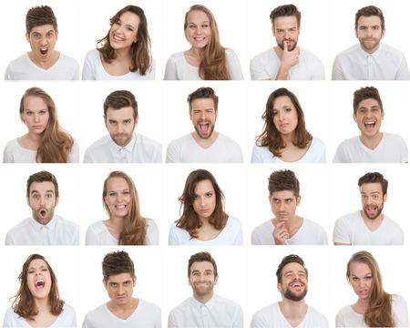 Photo pour set of different male and female faces, facial expressions - image libre de droit