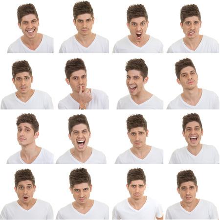 Photo pour set of different male facial expressions - image libre de droit