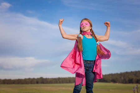 Photo for girl power superhero confidence in kids or children - Royalty Free Image