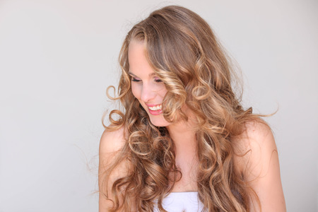 pretty woman, blond curly hair beautiful skin