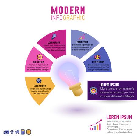 Illustration pour Vector illustration of light bulb infographic template for business idea concepts with circle 5 options, steps, processes or parts. - image libre de droit