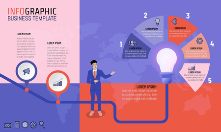 Ilustración de Vector illustration of business man infographic presentation template with 2 and 5 options timeline planning strategy for business concept. Light bulb idea for timeline, milestone, progress, diagrams. - Imagen libre de derechos