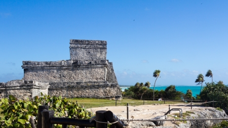 ncient Mayan ruins in Tulum on the beach of Caribbean turquoise sea