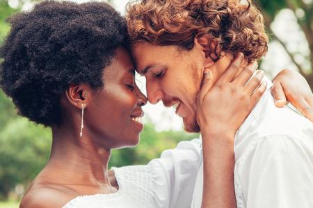 Photo pour Happy couple enjoying silence and their love - image libre de droit