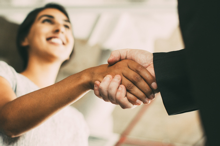 Photo for Closeup of Business Woman Shaking Partner Hand - Royalty Free Image