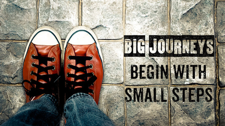 Photo pour Big journeys begin with small steps, Inspiration quote, shoes on street - image libre de droit