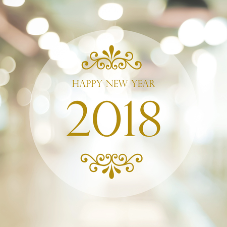 Photo for Happy New Year 2018 on abstract blur festive bokeh background, banner - Royalty Free Image