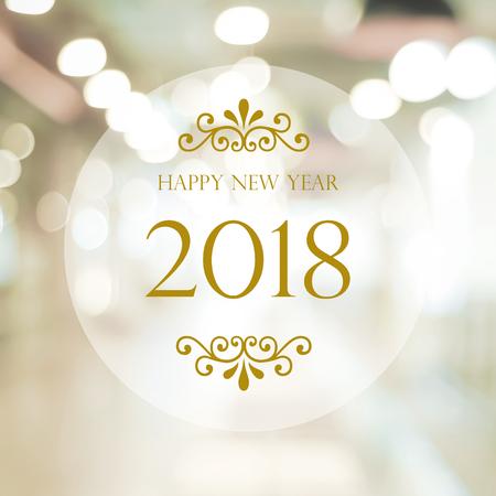 Foto de Happy New Year 2018 on abstract blur festive bokeh background, banner - Imagen libre de derechos