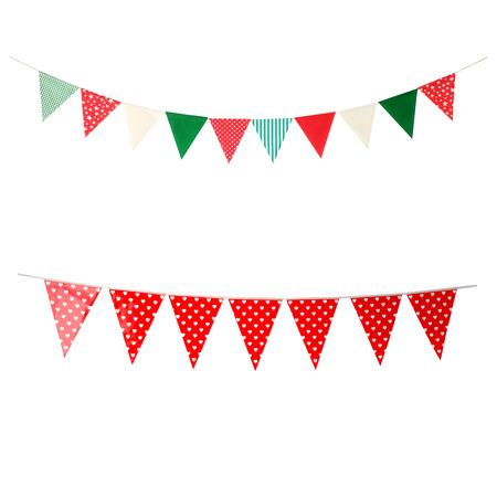 Foto de Hanging party flags isolated on white background, decorate items for festival, celebrate event - Imagen libre de derechos