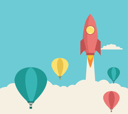 Illustration pour rocket launching over the hot air balloons  Business competition concept  Vector - image libre de droit
