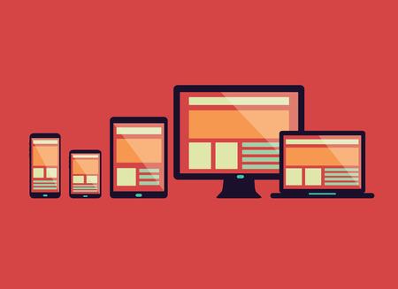 Illustration pour Responsive web design in electronic devices  Connect social network  flat design element  vector - image libre de droit