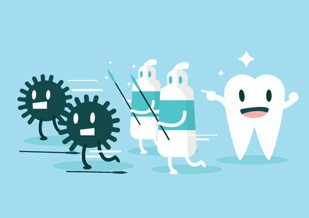 Illustrazione per Toothpaste protect teeth from germ  Character set  flat design illustration  vector - Immagini Royalty Free