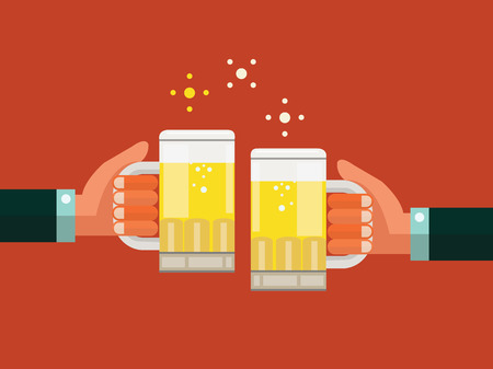Illustration for Two businessmen toasting glasses of beer  Business successful and partnership concept  flat design  vector illustration - Royalty Free Image