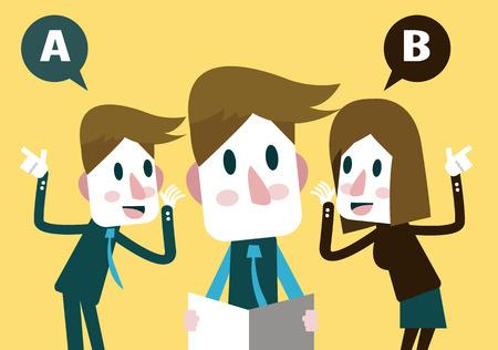 Illustration pour Boss listening business plan from Marketing Team - image libre de droit