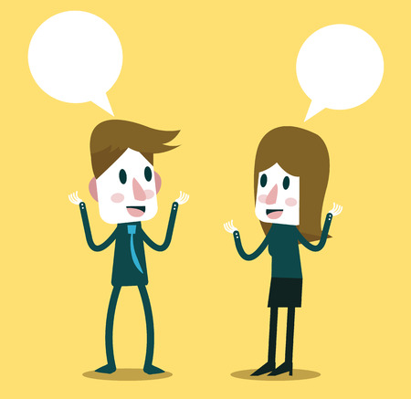 Ilustración de Two business people talking and discussing. flat character design. vector illustration - Imagen libre de derechos