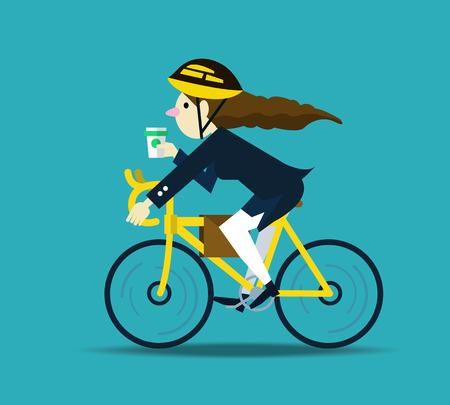 Illustration pour Business women cycling to work. flat design character. vector illustration - image libre de droit