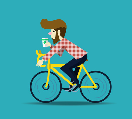 Ilustración de Hipster man cycling his fixie bike. flat design character. vector illustration - Imagen libre de derechos