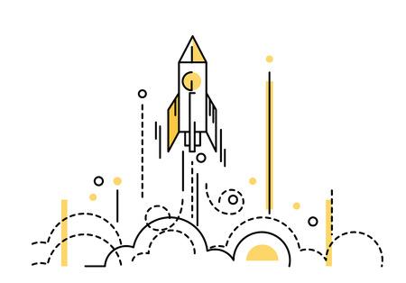Illustration pour Rocket launch. creative start up. flat thin line design elements. vector illustration - image libre de droit