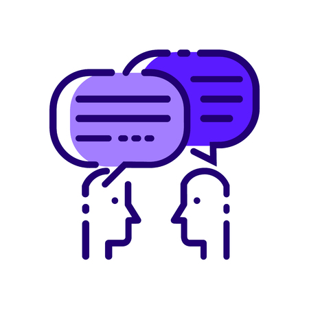 Ilustración de People Talking. Blue flat thin line icons. vector illustration - Imagen libre de derechos