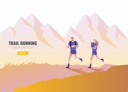 Ilustración de Trail Runner of men and women running on the mountain. beautiful scenery Background. vector illustration - Imagen libre de derechos
