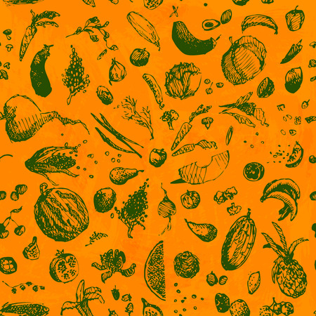 Hand drawn doodle food, vegetables and fruits, seamless pattern. Green objects, orange watercolor painted background background. Design illustration for poster, flyer. EPS 10