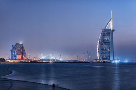 Photo for Dubai city viewed from the Palm Jumeirah - Royalty Free Image