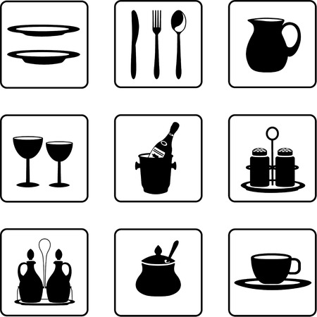 tableware objects black and white silhouettes