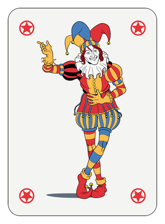 Illustration pour Joker in colorful costume playing card - image libre de droit